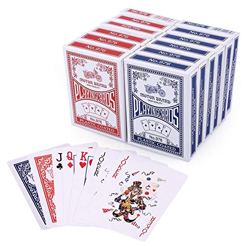 LotFancy Playing Cards, Poker Size Standard Index, 12 Decks of Cards (6 Blue and 6 Red), for Blackjack, Euchre, Canasta, Pinochle Card - Cards Playing Coated Plastic