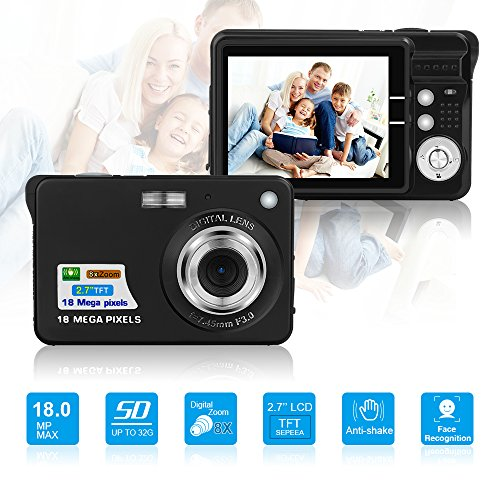 HD Mini Digital Camera with 2.7 Inch TFT LCD Display, Digital Video Camera Black– Sports,Travel,Camping,Birthday&Christmas Gift