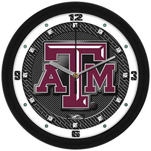 SunTime NCAA Texas A&M Aggies Textured Carbon Fiber Wall Clock