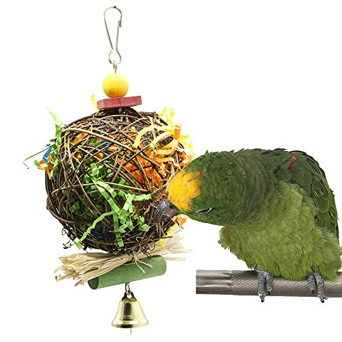 - Parrot cage Toys Bird Swing Toys Bells Bird Perch with Natural Wood Beads Bells Wooden Hammock Hanging Toys for Budgie Lovebirds Conures Parakeet African Greys Amazons Eclectus Cockatoos (Style 9)