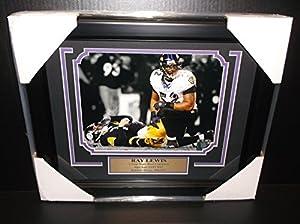 Ray Lewis Framed Over Ben Roethlisberger 8x10 Photo Baltimore Ravens White Jersey