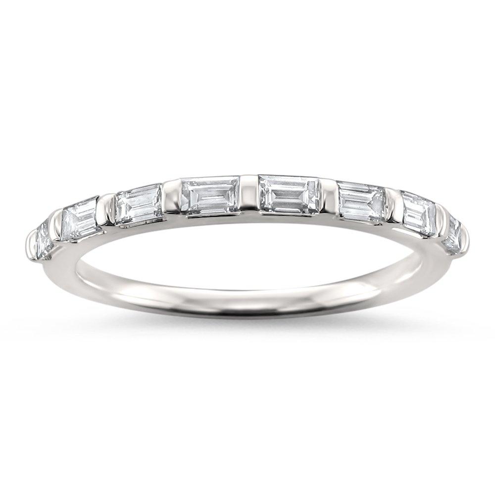 14k White Gold Baguette Diamond Bridal Wedding Band Ring (1/2 cttw, H-I, SI1-SI2), Size 4.5 by La4ve Diamonds