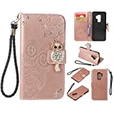 For Samsung Galaxy S9 Plus Cover Cases, CrazyLemon 3D Bling Rhinestone PU Leather Owl Embossed Wallet Stand Folio Cover Cases with Card Holders Money Clip Magnetic Clasp Built in Stand Shockproof Protective Case for Samsung Galaxy S9 Plus - Rose Gold