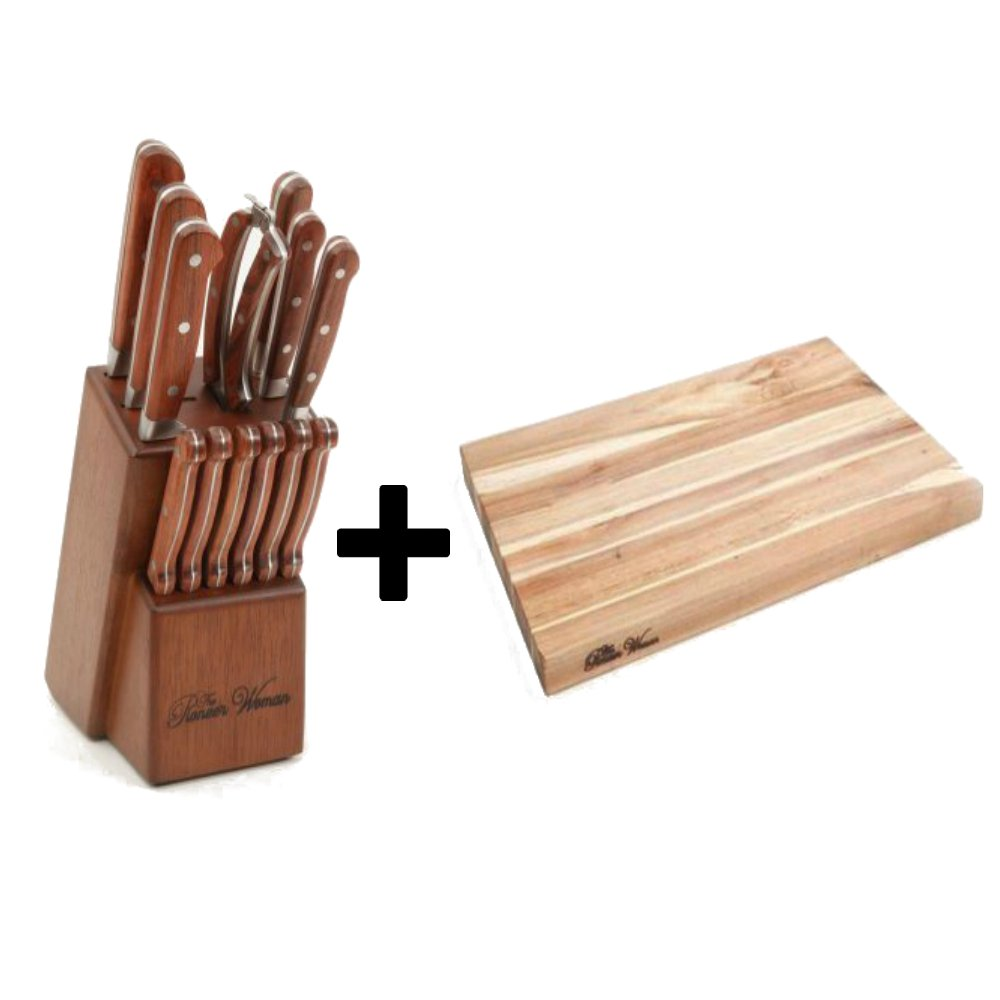 14-Piece Cowboy Rustic Forged Cutlery Set In Red Rosewood Handle + Cutting Board 12'' x 18'' Acacia Wood - Bundle Set