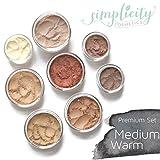 Mineral Makeup Premium Set - Medium Warm | Blush | Foundation | Sheer Powder | Eyeshadow | Bronzer | Under Eye Concealer | Starter Set