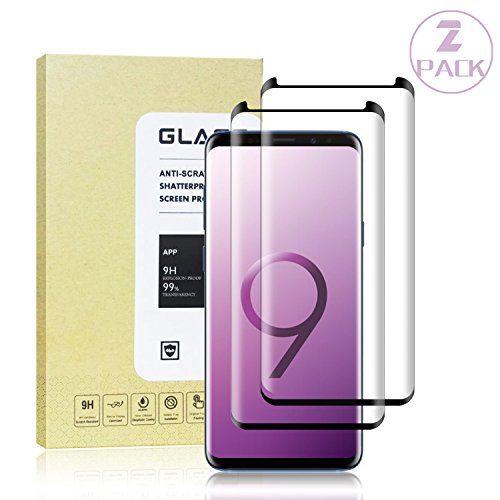 Galaxy S9 Plus Black Screen Protector, Auideas Tempered Glass Screen Protector with [9H Hardness][Easy Bubble-Free Installation][Anti-Scratch][Anti-Fingerprint] for Samsung Galaxy S9 Plus.