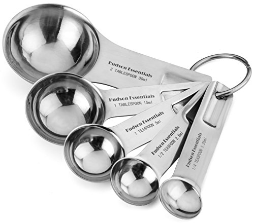 Hudson Essentials Stainless Steel Measuring Spoon Set - 5 Piece Stackable Set with 2 Tablespoon Coffee Scoop