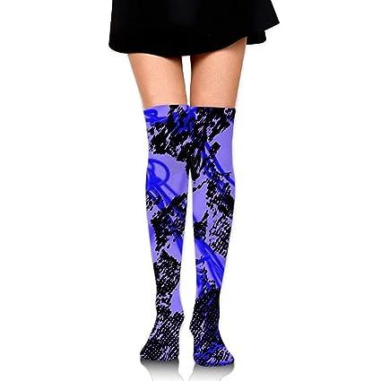 Women Crew Socks Thigh High Knee Lightning Long Tube Dress Legging Soccer Compression Stocking
