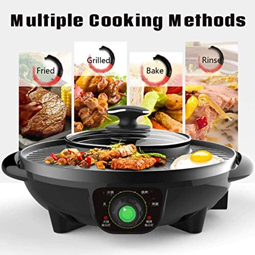 YUFU Smokeless Hot Pot Cuisinière 2 en 1 Barbecue Grill, Four Non Stick Plaque Barbecue for la Maison Picnic Party Skillet 2-6 Personnes Utilisation