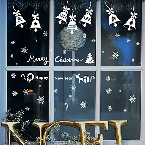 Merry Christmas Bells Window Glass Stickers with Double-sided View, JmYo Reusable Removable Christmas Window Decals for Christmas Decorations Ornaments Winter Wonderland Xmas