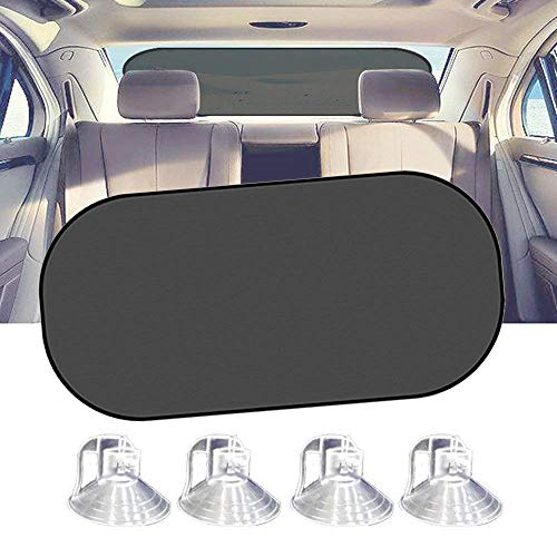 (IC ICLOVER Car Sun Shade, UV Protection Folding Auto Rear Window Sunshade, 39 x 20 Inch Universal Mesh Back Window Visor with Suction Cup for Children Kids Baby Pet Fit SUV)