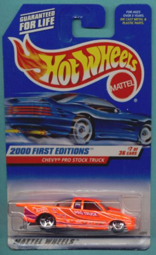 2000 Clearance Stock - Hot Wheels - 2000 First Editions - Chevy Pro Stock Truck - Neon Orange - Collector #067 - 7/36 - Die Cast - Limited Edition - Collectible 1:64 Scale