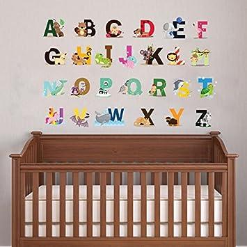 Cute Animal Alphabet Wand Kunst Aufkleber Für Baby Schlafzimmer  Kinderzimmer Wandtattoo Alphabet Buchstaben Decor A Z
