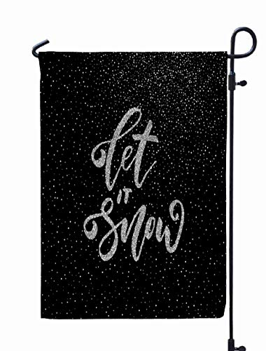 Shorping Welcome Garden Flag, 12x18Inch Let Snow Ink Freehand Silver Glitter Texture Modern Calligraphy Isolated The Confetti Background for Holiday and Seasonal Double-Sided Printing Yards Flags ()