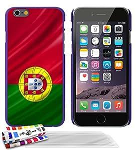 """Carcasa Rigida Ultra-Slim APPLE IPHONE 6 / 6S de exclusivo motivo [Portugal Bandera] [Violeta] de MUZZANO  + 3 Pelliculas de Pantalla """"UltraClear"""" + ESTILETE y PAÑO MUZZANO REGALADOS - La Protección Antigolpes ULTIMA, ELEGANTE Y DURADERA para su APPLE IPHONE 6 / 6S"""