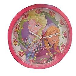 Disney Frozen Anna & Elsa Girl's Pink Wall Clock