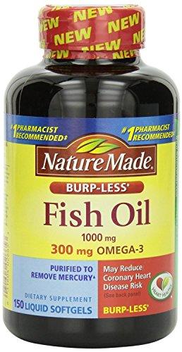 Nature Made Burp-less Fish Oil, 1000 Mg, 300 mg Omega-3, 150 Liquid Softgels, pack of 2
