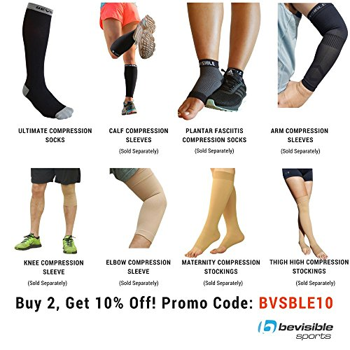 BeVisible Sports Compression Socks For Men Women - 20-30mmHg by Best For Running, Fitness, Shin Splints, Nurses, Travel, Maternity, Pregnancy - Enables Faster Recovery