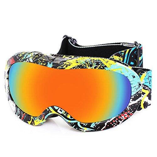 SE7VEN Masques De Ski Enfants,Double Couche Anti Brouillard Sphérique Ultra Wide-ange Lentille Sphérique Bonne Vision Claire Snowboard Goggles F