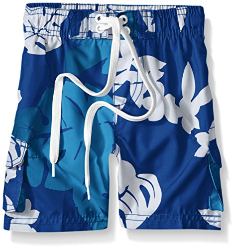 Kanu Surf Little Boys' Toddler Voyage Floral Swim Trunk, Royal, 4T - Kid Alpha Check