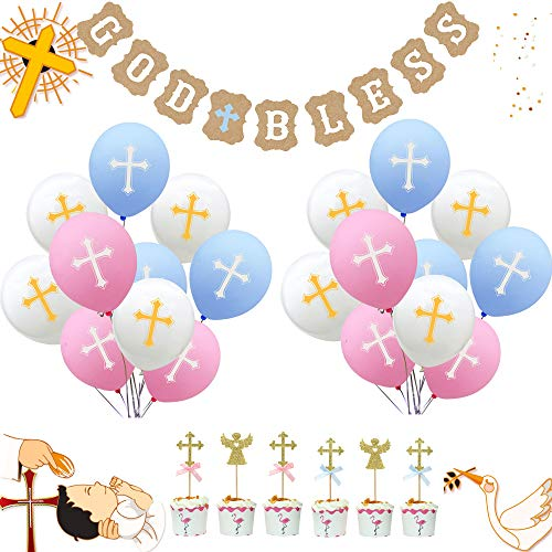 (God Bless Party Supplies God Bless Baptism Banner Gold Glitter Cross and Angel Cupcake Topper Cross Balloon for Wedding,Baby Shower,Baptism Christening Party,First Communion)