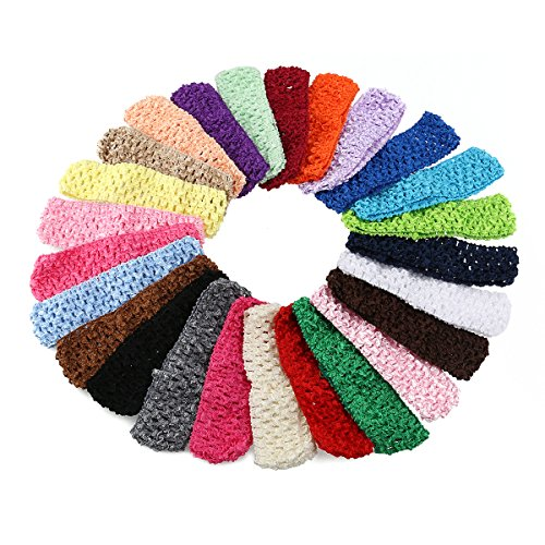 Baby Girl Headbands Elastic Crochet Hair Bands Hair Accessories Pack of 50