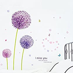 "ufengke home Large Purple Dandelions Wall Art Stickers With Butterflies, Flowers & ""I Miss You"" Words Decorative Removable DIY Vinyl Wall Decals Living Room, Bedroom Mural"