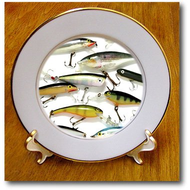 cp_3980_1 Fishing - Fly fishing Lures - Plates - 8 inch Porcelain Plate