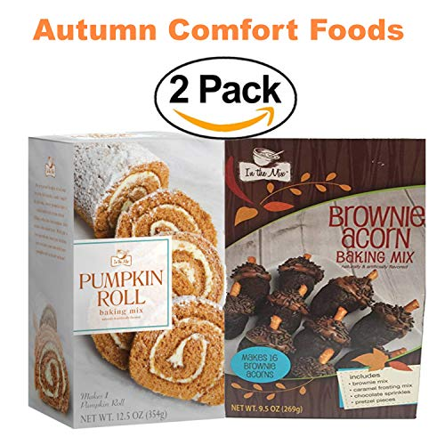 In the Mix Fall Comfort Food Pumpkin Roll & Brownie Acorn Baking Mix Bundle 2 Boxes -