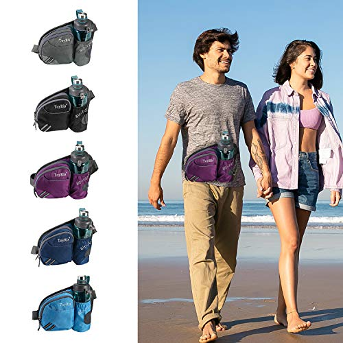 ToyRis Hiking Waist Belt Fanny Pack with Water Bottle Holder for Men Women Outdoor Running Traveling Camping & Dog Walking Fits All Kinds of Smart Phones (Purple)