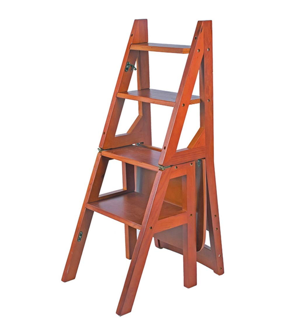 LHNLY-Step Stool Wooden Folding Step Stool Portable Ladder Chair Stool Multifunction Stepladder/Stairway Chair for Home Library 4 Steps Max. 150kg (4 Color) (Color : Walnut Color) by LHNLY-Step Stool