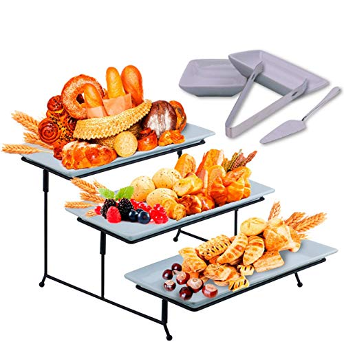 3 Tier Serving Tray Stand – Rectangular Dessert Party Platter with Extra Sauce Dishes Cake Server and Serving Tongs – Three Tiered Cupcake and Food Holder Display for Weddings, Tea Parties, Birthdays