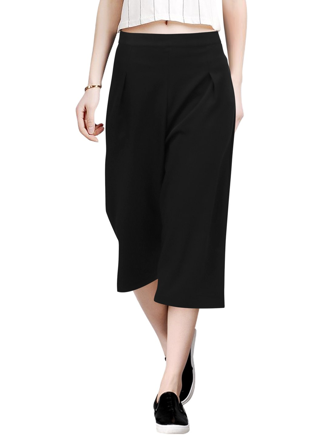 Allegra K Ladies Concealed Zip Mid Rise Wide Legged Trousers S Black