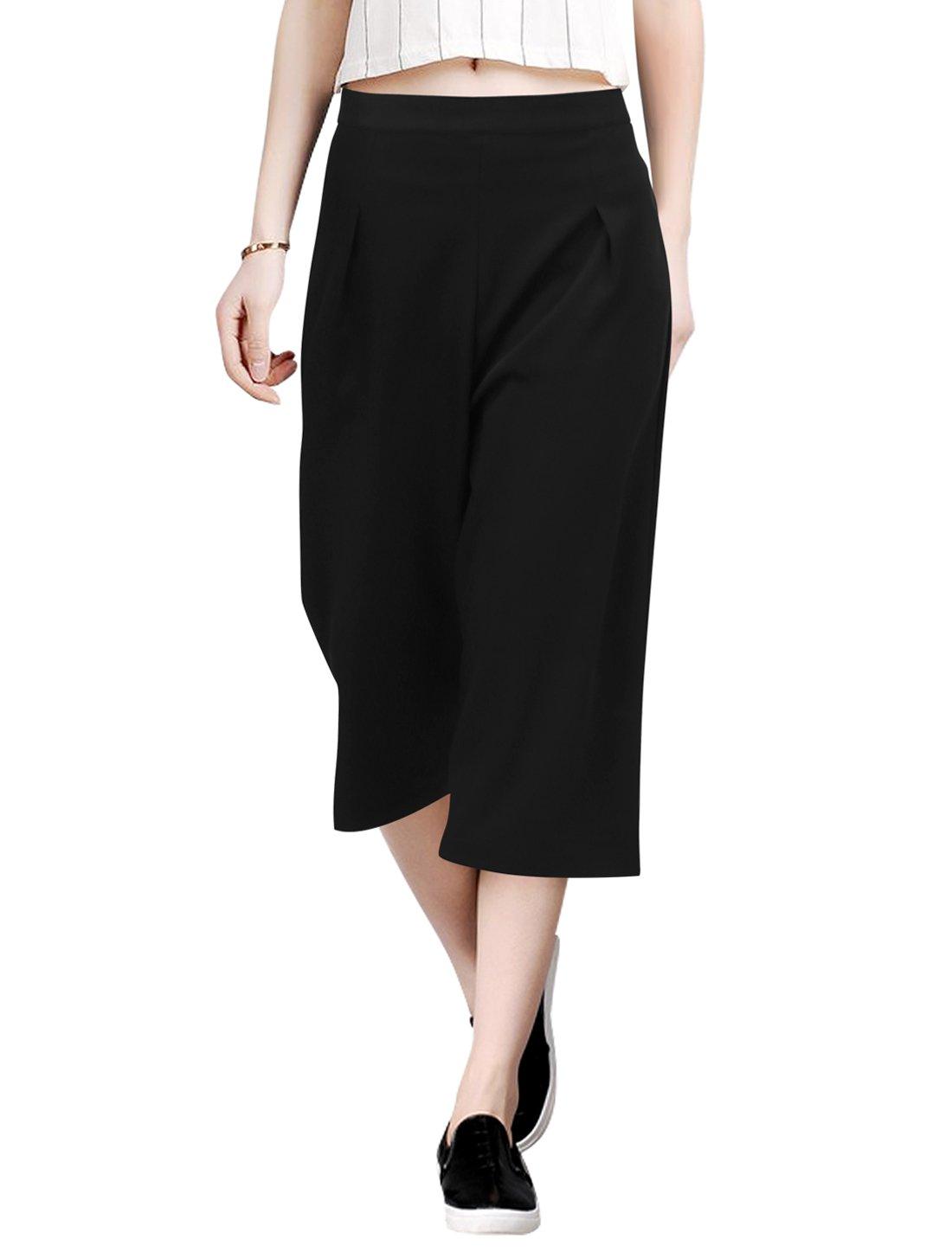 Allegra K Ladies Concealed Zipper Capris Culottes Pants M Black