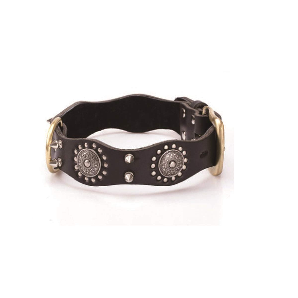 Black XL Black XL Tongboshi Leather Rivet Dog Collar, Large Dog Anti-bite Nail Dog Collar, Dog Collar, Dark Brown, Black The Collar is Beautiful in Design and Unique in co (color   Black, Size   XL)