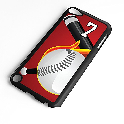 iPod Touch Case Fits 6th Generation or 5th Generation Baseball #5100 Choose Any Player Jersey Number 7 in Black Plastic Customizable by TYD Designs