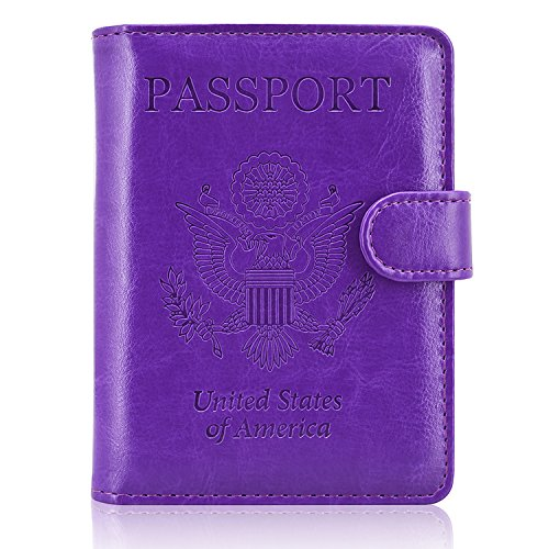 ACdream Leather Passport Holder [Bonus Stylus] Cover Case RFID Blocking Travel Wallet with Magnet Closure, Purple