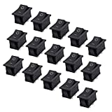 FBApayipa 15 Pcs AC 6A/250V 10A/125V 2 Solder Lug SPST On/Off Mini Boat Rocker Switch Car Auto Boat Round Rocker 2Pin Toggle SPST Switch Snap