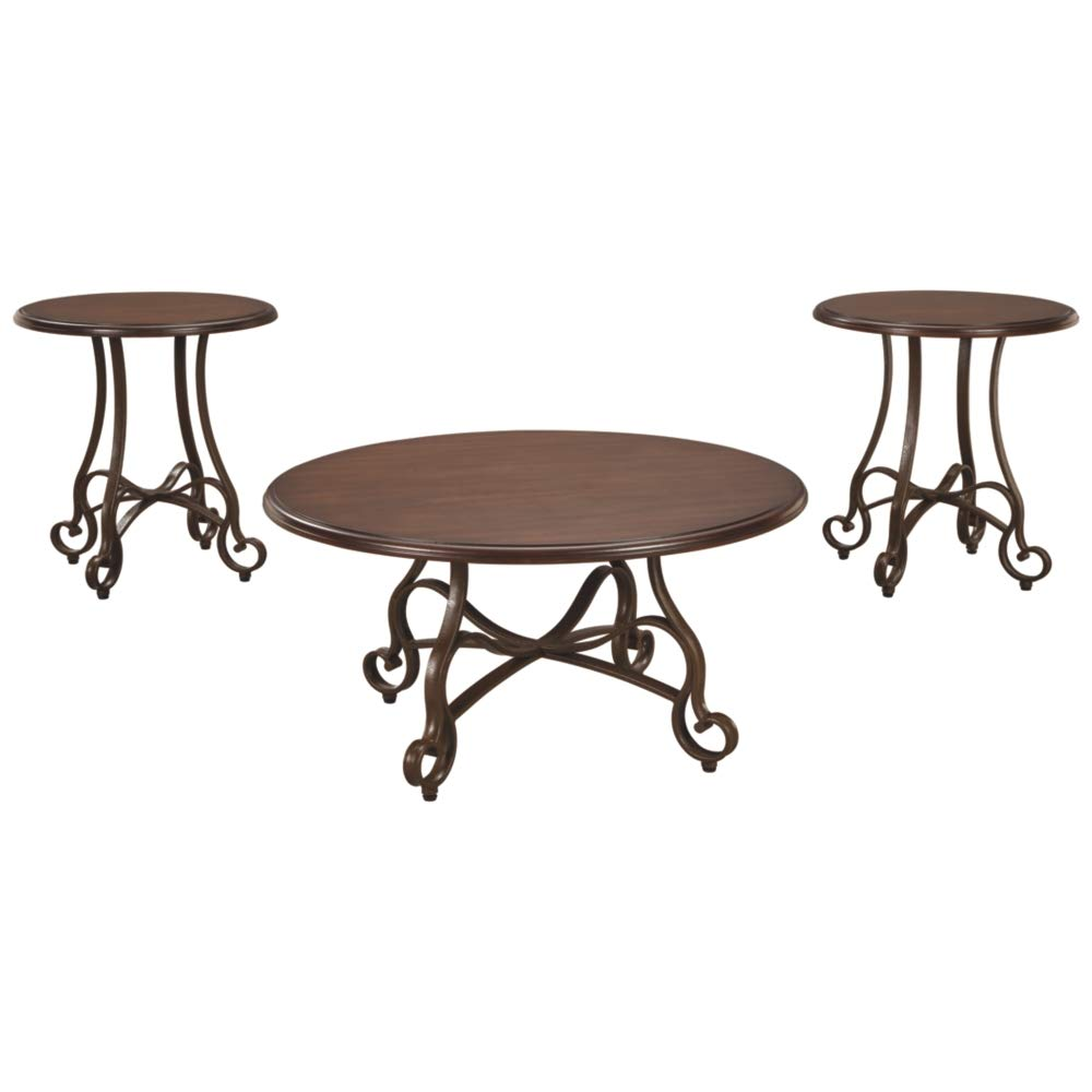 Ashley Furniture Signature Design - Carshaw Occasional Table Set - Set of 3 -  Scrolled Metal - Dramatic by Signature Design by Ashley