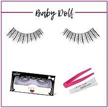 GladGirl | 'Baby Doll' Strip Lash Kit | 100% Sterilized Human Hair Lashes On Invisible Band | Handmade Delicate-Style Natural False Eyelashes | Reusable with Lash Adhesive & Applicator