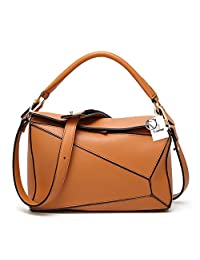 Yoome Women's Faux Leather Casual Tote Bag Boston Shoulder Bag Contrast Color Ipad Purses and Handbags - Brown