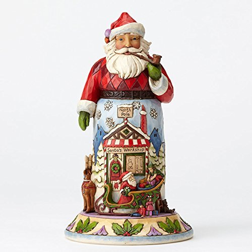 (Enesco Jim Shore HWC Santa With Sleigh And Reindeer Figurine)