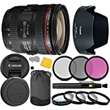Canon EF 24-70mm f/4.0L IS USM Lens + 3 Piece Filter Set + 4 Piece Close Up Macro Filters + Lens Cleaning Pen + Pro Accessory Bundle - 24-70mm IS USM (L): Luxury Series- International Version