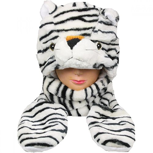[White Tiger_(US Seller)Plush animal hats with mittens Cap Earmuff Long] (Target Cowboy Dog Costume)