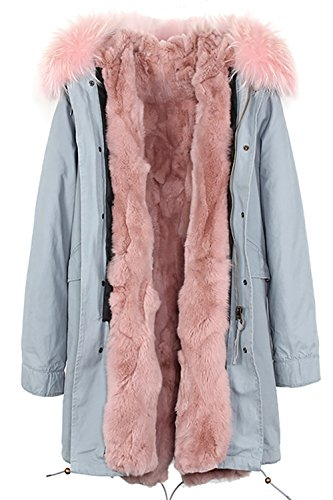 S.ROMZA Women Real Rabbit Fur Parka Upscale Long Hooded Coat Detachable Jacket Real Fur Liner (X-Large, Grey&Light Pink)