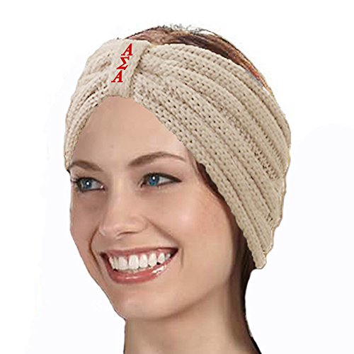 KYS Alpha Sigma Alpha Sorority Cable Knit Bow Headband (Cream)