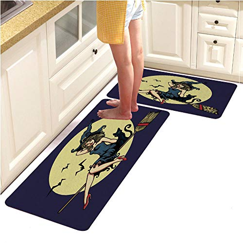 Multi-Color Design Modern Runner Rug with Non-Skid Rubber for Living Room,Cute Pin up Girl in Halloween Witch Costume Flying Broomstick Vector (15