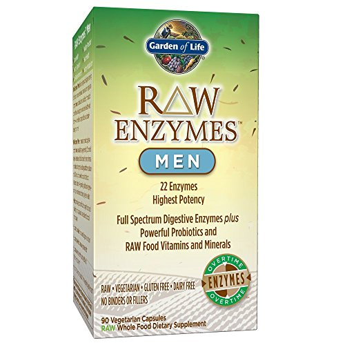 Garden of Life Vegetarian Digestive Supplement for Men – Raw Enzymes Men for Digestion, Bloating, Gas, and IBS, 90 Capsules