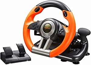 PC Racing Wheel, PXN V3II 180 Degree Universal Usb Car Sim Race Steering Wheel with Pedals for PS3, PS4, Xbox One,Nintendo Switch (Orange)…