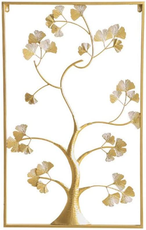 Modern Tree of Life, Metal Wall Decor Sculpture, Gold, Gray, Teal Blue Leaves, Artisan Crafted Metal, Distressed Rustic Finish, Lacquered Iron, Bas-Relief, 8552.5cm